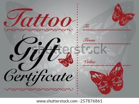 Butterfly Skull Tattoo Gift Card Gift Stock Vector