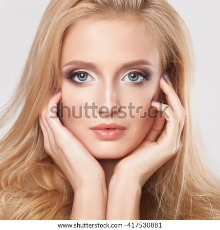 fashion blonde woman beautiful face isolated stock photo shutterstock