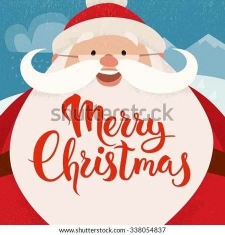 Merry Christmas Vector Card Funny Christmas Stock Vector