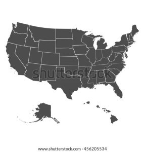 Set US States Map America On Stock Vector 456205534   Shutterstock