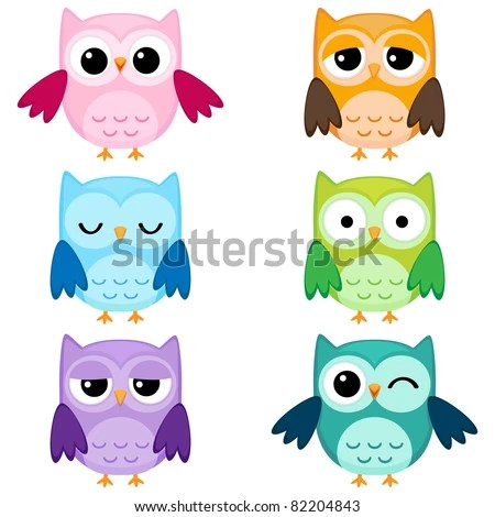 set of six cartoon owls with various emotions second set of two