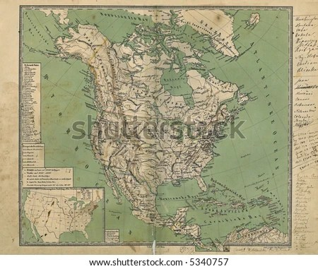 Old Map North America 1867 Stock Photo  Royalty Free  5340757     Old Map of North America 1867