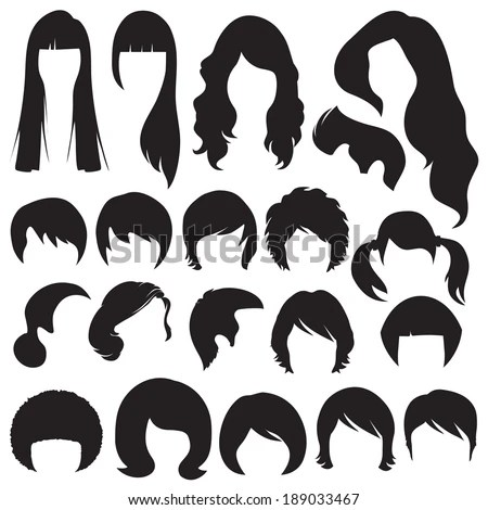 Hair Silhouettes Woman Man Hairstyle Stock Vector Royalty