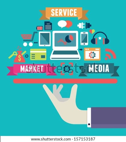 Flat concept of media market service - vector illustration