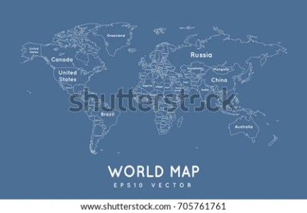 Political World Map Outline Name Borders Stock Vector 705761761     Political world map in outline with the name and borders of the countries