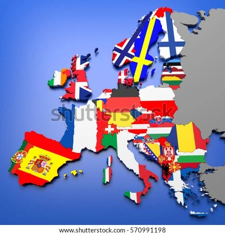 3 D Illustration European Countries Map Stock Illustration 570991198     3D illustration of european countries map