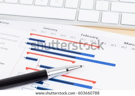 Project Management Gantt Chart Keyboard Pen Stock Photo  Edit Now     Project management and gantt chart with keyboard and pen