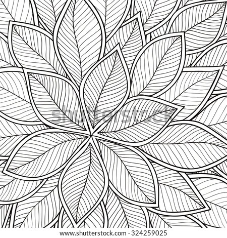 Pattern Coloring Book Leaves Ethnic Floral Stock Vector