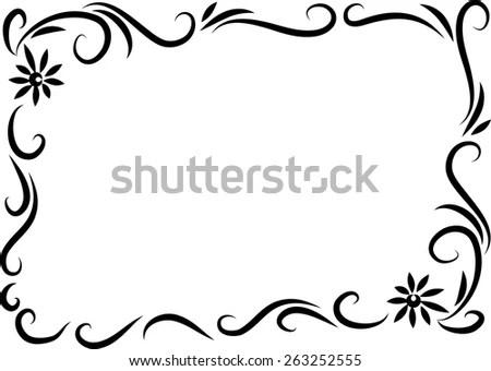 Flower photo frame design drawing frameimage vector drawing flowers frame black white stock 263252555 mightylinksfo