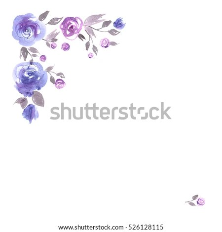 Cute Watercolor Flower Corner Background Blue Stock