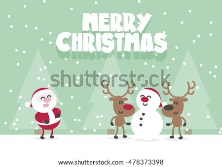 Merry Christmas Cute Santa Reindeer Snowman Stock Vector