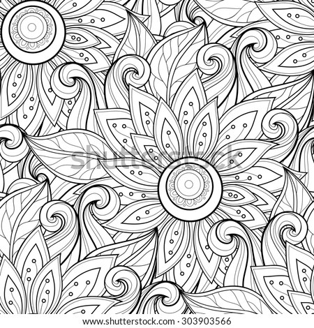 drawn floral texture decorative flowers coloring book stock photo