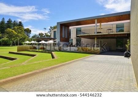 Exterior New House Veranda Green Lawn Stock Photo
