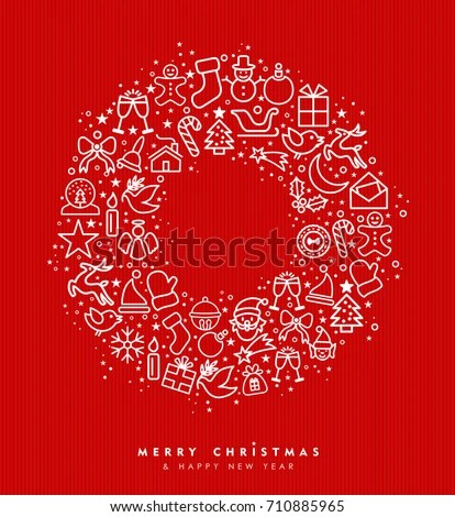 Merry Christmas Happy New Year Greeting Image Vectorielle