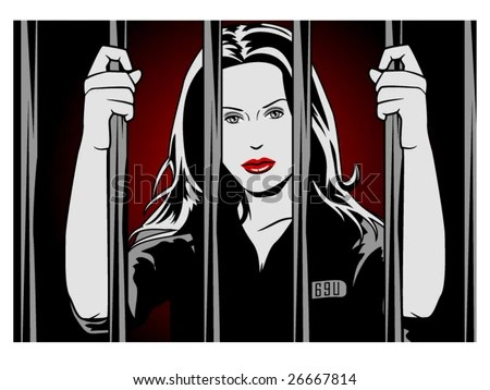 vector illustration of a female convict behind bars....... bars are contained in clipping mask - stock vector