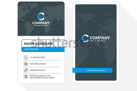 Vertical Doublesided Business Card Template Blue Stock Vector     Vertical Double sided Business Card Template  Blue and Black Colors  Flat  Design Vector