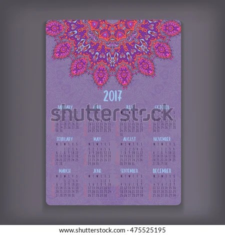 2017 Calendar Template Mandala Vector Greeting Stock Vector     2017 calendar template  Mandala vector greeting or business card design   Highly detailed ottoman