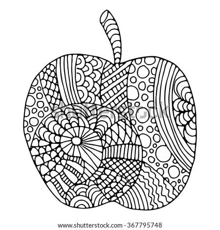Apple Zentangle Pattern Coloring Book Stock Vector