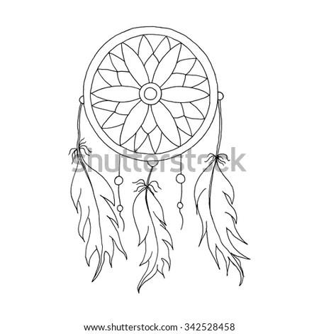 Hand Draw Dreamcatcher Beads Feathers Birds Stock Vector