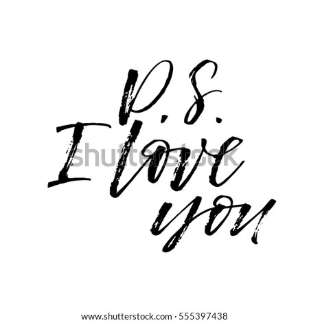 Download Ps Love You Postcard Phrase Valentines Stock Vector ...