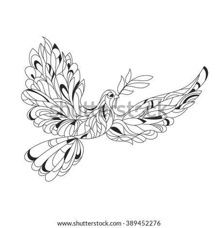 peace dove with olive branch coloring page with high details isolated