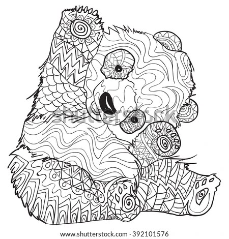 coloring pages with panda illustration for adult anti stress coloring