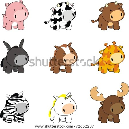 easy to draw baby animals baby cartoon animals set in