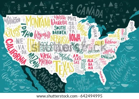 USA Map States Pictorial Geographical Poster Stock Vector 642494995     USA map with states   pictorial geographical poster of America  hand drawn  lettering design for