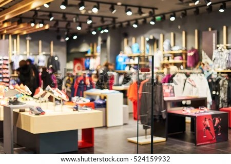 Blurred Showcases Fashion Boutique Sportswear Blurred Stock Photo     Blurred showcases fashion boutique with sportswear  Blurred big sales on  Black Friday  On sale