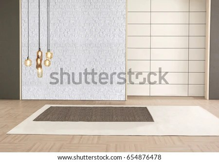 Furniture Objects Home Office Empty Living Stock Photo  Royalty Free     furniture objects for home and office empty living room bedroom  brick wall  wooden decorative interior