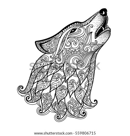 Hand Drawn Wolf Side View Ethnic Stock Vector 559806715