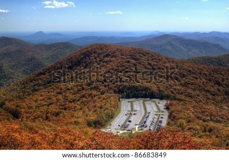 view of the blue ridge mountains during fall season from brasstown