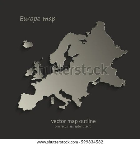 Europe Map Outline Card Blank Black Stock Vector 599834582     Europe map outline card blank black vector