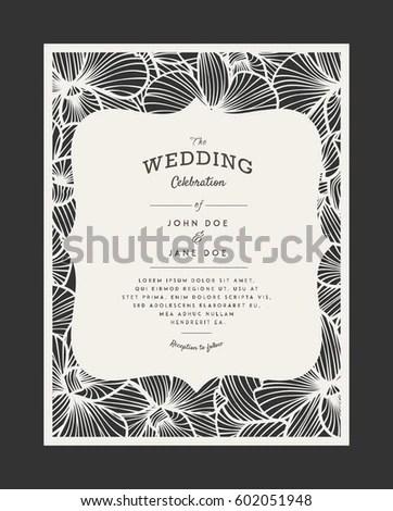 Laser Cut Vector Wedding Invitation Orchid Stock Vector 602051948 Shutterstock