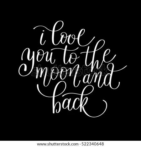 Download Love You Moon Back Handwritten Calligraphy Stock Vector ...