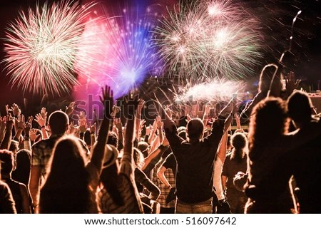 Cheering Crowd Fireworks New Year Celebration Stock Photo  Edit Now     cheering crowd and fireworks   New Year celebration concept