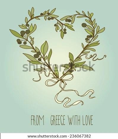 Download Heart Formed Olive Twigs Greek Wreath Stock Vector ...