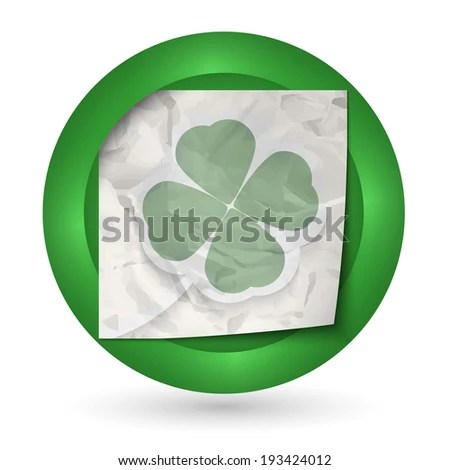 Green Abstract Icon With Crumpled Paper And Cloverleaf