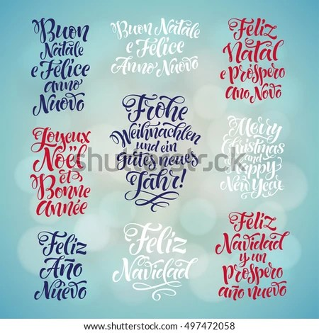 merry christmas happy new year lettering stock vector 497472058