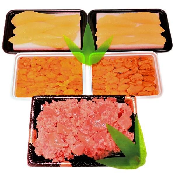 【ふるさと納税】a15-287 うにと鮪の海鮮丼用、味付数の子約200gも付きます。