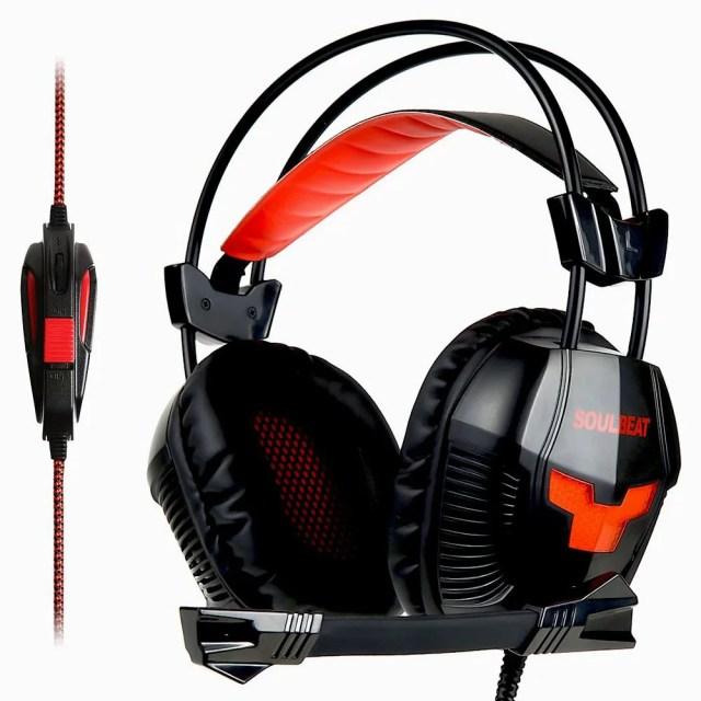 ゲーミングヘッドセット SOULBEAT 7.1CH USB PC ヘッドセット 軽量 PCゲーム ヘッドホン 騒音抑制マイク付き ヘッドフォン LB-901 LEDライト PC PS4 ラップトップなど対応 (レッド ブラック)