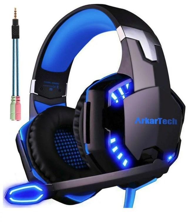 ゲーミングヘッドセット マイク付き ArkarTech G2000 PCゲーム用ヘッドホン ステレオ ヘッドアーム ヘッドフォン 伸縮可能 LED付属 PC Switch PS4 Xbox One MAC Skype対応 色 :ブルー