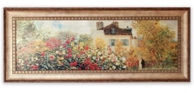 絵画 名画 モネ 「庭園のアーチスト」 LLサイズ/インテリア 壁掛け 額入り 額装込 風景画 油絵 ポスター アート