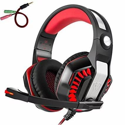ゲームヘッドセット、Beexcellent GM-2 ヘッドホン フォン 密閉型 高音質 マイク付き PS4/XBOX/PC適用 ポータブル (レッド)