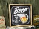 ビールのチョークアート風ウッドサイン ■ 木製 ウッド アメ