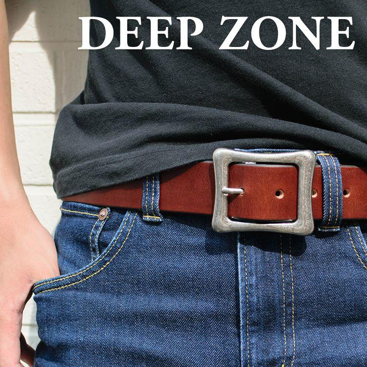 ベルト オイルレザー スクエアバックル Deep Zone #634-13 ◆