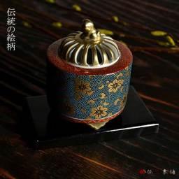 【送料無料】 香炉 青粒鉄仙 3.5号 ( 木箱名入れ可 木