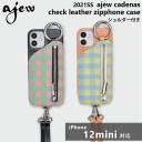《即納》【12mini対応】エジュー ajew 通販 ajew cadenas check leather zipphone case ひも付……