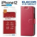 エレコム iPhone 12 mini 用 ソフトレザー ケース UltraSlim ステッチ 手帳型 アイフォン 12 ……