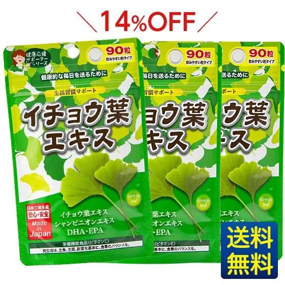 【イチョウ葉エキス3袋セット】90粒×3ヶ月分/ジャパンギャルズ/生活習慣サポー